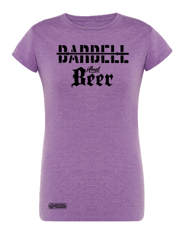 CAMISETAS BARBELL AND BEER CHICA MORADA
